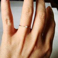 BACKORDERED - Golden Orbital Ring - Simple Beautiful Stack Ring with a Fiery White Opal