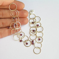 Dangling Silver Earrings with Garnet - Long Bubble Earrings - Sterling Silver Loops