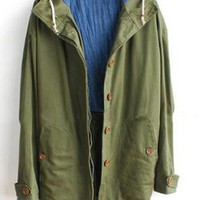 Hooded Army Green Coat S005719
