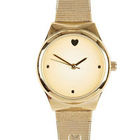Gold tone embossed hearts watch