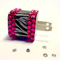 Zebra Glitter & Rhinestone iPhone USB Charger