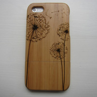Paardenbloem - houten bamboo / walnoot houten Iphone 5 case