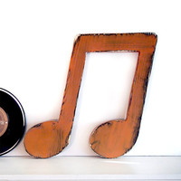 Music Note (Pictured in Rust) Pine Wood Sign Wall Decor Rustic Americana French Country Chic