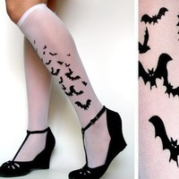sexy BATS TATTOO knee-high socks WHITE halloween