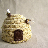 Decorative Bee Hive with Bees by SeaPinks on Etsy