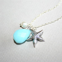 Seastar and Blue Stone necklace with white pearl by smilesophie
