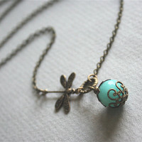 Blue Jade and Dragonfly Necklace by smilesophie on Etsy