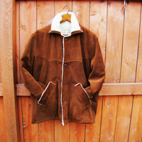 vintage brown suede, sherpa lined western parka. size 42. by Simco Leather Company. unisex. size L to XL