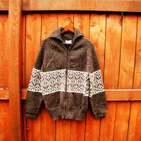vintage wool zip up sweater. heather brown and ivory. made in New Zealand. size M to L winter ski sweater
