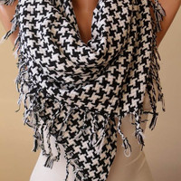 Black and White Scarf - Thick Cotton Fabric - Triangular