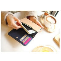 Fashion PU Leather Cartoon Wallet bag PURSE case for Iphone 4 S Lady Favor Strip
