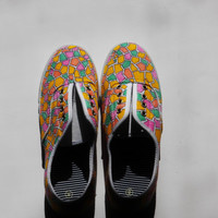 Women's Size 8 - Handpainted Geometric Tribal Canvas Shoes - Sample Sale
