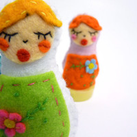 White Matrioshka girl handmade, Russian nesting doll felt brooch or pin