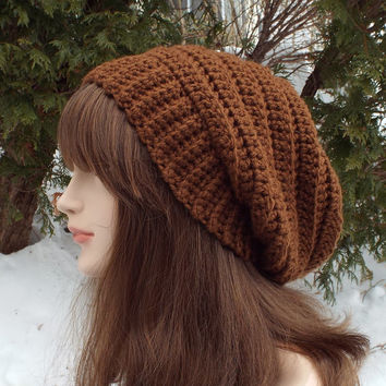 Russet Brown Slouchy Crochet Hat - Womens Slouch Beanie - Oversized Slouchy Beanie - Chunky Hat - Winter Slouchy Hat