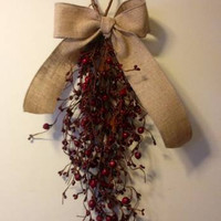 Hanging Berry Swag, Red with Burlap Bow