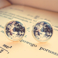Retro Space, Globetrotter, Vintage Planet Earth Stud Earrings - Free Shipping - Made to order :)