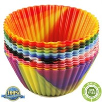 The Original Premium Quality Tie Dye Silicone Cupcake Liners / Reusable Baking Cups - Environmentally Friendly with Easy Peel Technology - Lifetime Guarantee! (12 Pack - Six Colors)