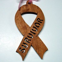 Cancer Survivor Ribbon Ornament Handcrafted from Cherry Wood
