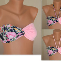 PADDED...THINER BACK..Floral bandeau with removable neck strap -Twisted swimsuit bandeau with pads - Bikini top - Women's bathing suit