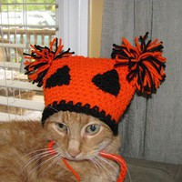 Jack O Lantern Halloween Pet Hat with Two Pom Poms, Handmade