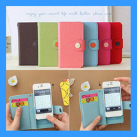 Faux Leather Wallet Card Slot Button Flip Case Cover - Apple Iphone 4 4S