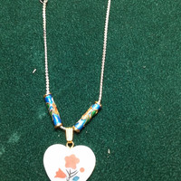 Mother of Pearl with Painted Flower and Cloisonne Beads  Silver Tone and Gold Tone Necklace