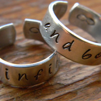 to infinity and beyond two aluminum cuff style  rings 1/4 inch