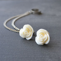 Antiqued Cream Rose Double Silver Chain Ear Cuff (Pair)