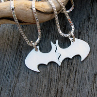 Batman Best Friend necklaces in sterling silver, BLANK, smaller, Friendship