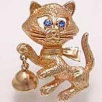 Avon Vintage goldtone Cat with bell pin