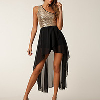 Top Sequin Chiffon Dress, John Zack
