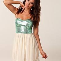 Sequin Aqua Babydoll Dress, Rare London