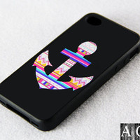 Anchor Symbol iPhone 4 iPhone 4S Case, Black Rubber Material Case