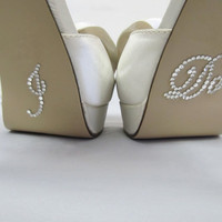 "Bride "" I Do "" Shoe Sticker for Bride in Crystal Rhinestone Great for Wedding Photos - Script"
