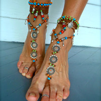 BAREFOOT BOHEMIAN WEDDING barefoot sandals slave Anklets crochet Sandals sole less shoes crochet anklets antique flowers