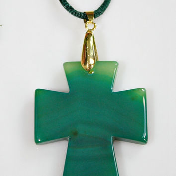 Agate Cross Pendant Necklace - Green Carved Onyx Agate Stone - Double Sided /  Silky Cord - Statement Necklace - Unique Easter Gift -