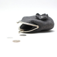 Coin purse - coin pouch - grey felted wool coin purse - Chistmas gift