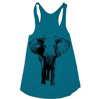 Women ELEPHANT Tri-Blend Racerback Tank - american apparel tanktop shirt - XS, S, M, and L (9 Color Options)