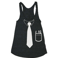 Womens BUSINESS TIE Tri-Blend Racerback Tank - American Apparel tanktop shirt - XS, S, M, and L (9 Color Options)