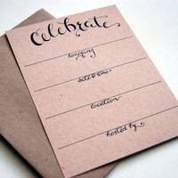 Celebrate, Party Announcement Flat Card Set, Calligraphy