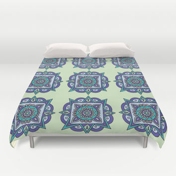Star Flowers in Pale Green Duvet Cover by PeriwinklePeacoat