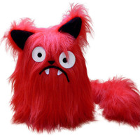 Boris the red cat pattern stuffed animal PDF - sewing with faux fur tutorial
