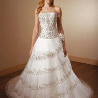 Royal A Line Strapless Court Train Lace Sleeveless Wedding Dress-$356.97-ReliableTrustStore.com