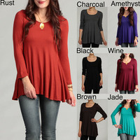 24/7 Comfort Women's Long Sleeve Crew Neck Tunic Top | Overstock.com