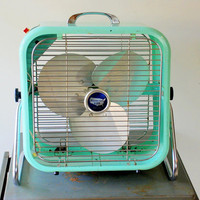 1950's Aqua Country Aire Metal Box Fan with 2 Speeds and Tilting Feature
