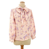 Vintage 1970s Bow Blouse Pink Purple Brown Leaf Floral Print Large