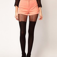 ASOS Heart & Bow Suspender Sheer Tights at asos.com