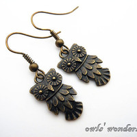 Steampunk antique brass owl earrings,cute owl ear cuffs EH002