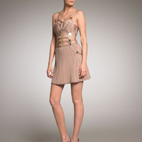 Herve Leger Golden Strip Bandage Dress
