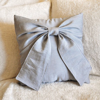 Decorative Pillow - Grey Big Bow Pillow 14x14 Gray Pillow